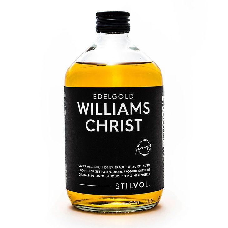 STILVOL. Williams Christ Edelgold mit Fruchtauszug Spirituose. Prost.