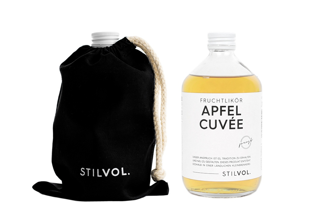STILVOL. Schöne Schnäpse und Liköre  Design Craft Spirits im Baumwollbeutel  Naturtrüber Apfel Likör  500ml Apfel Cuvée