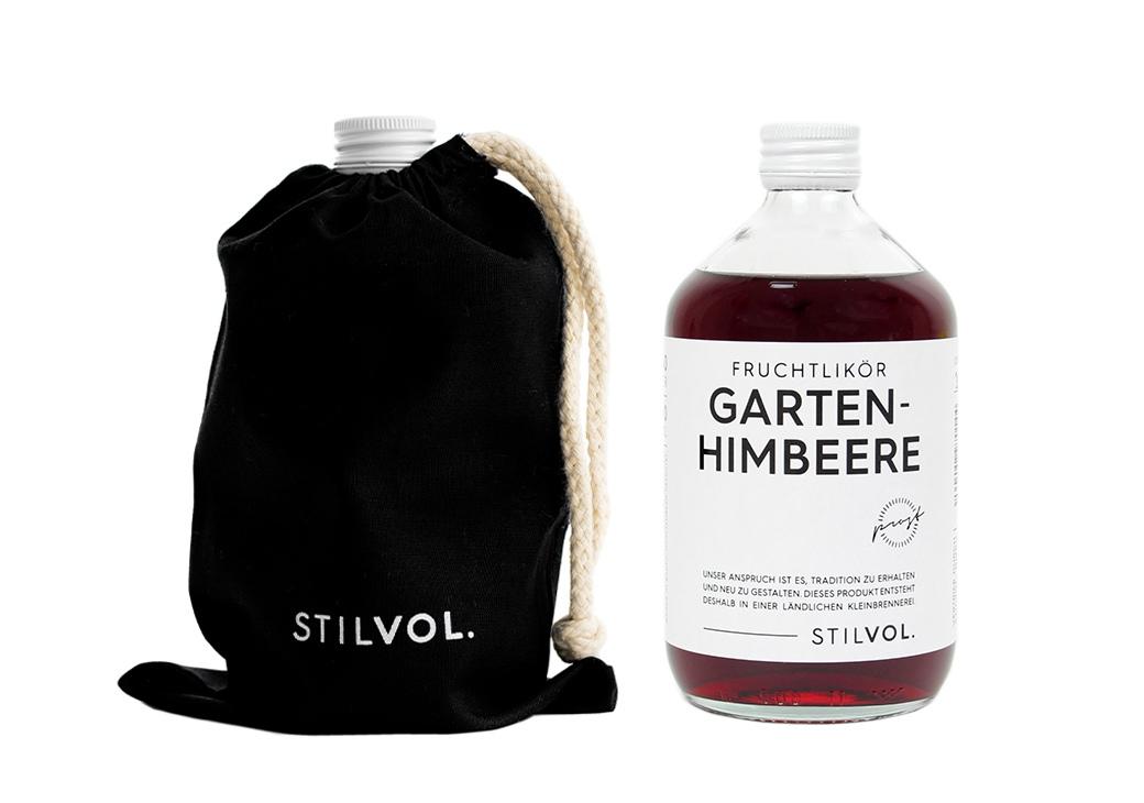 STILVOL. Schöne Schnäpse und Liköre |Design Craft Spirits im Baumwollbeutel | 500ml Gartenhimbeere Fruchtlikör - Himbeerlikör