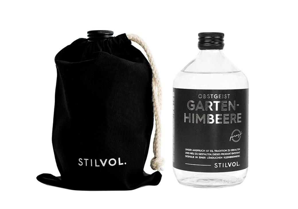 STILVOL. Schöne Schnäpse und Liköre |Design Craft Spirits im Baumwollbeutel | 500ml Gartenhimbeere Obstgeist