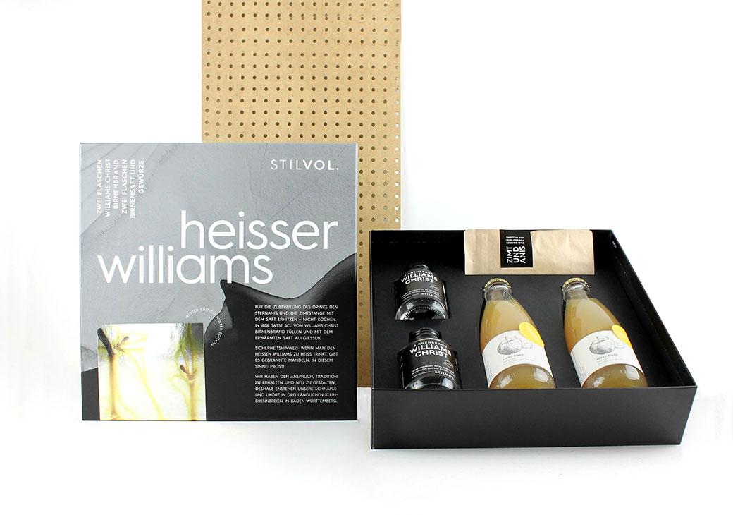 STILVOL. Design Craft Spirits | Schöne Edelbrände und Schnäpse | Geschenkbox Heisser Williams |Geschenkset Winter und Weihnachten | Wie Glühwein, nur besser