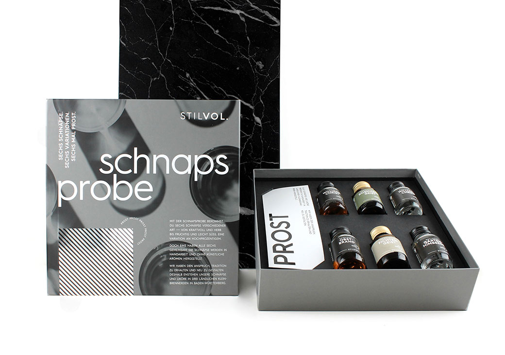 STILVOL. Design Craft Spirits | Geschenkbox Schnapsprobe für zwei Personen | 6x 50ml Brände und Geiste