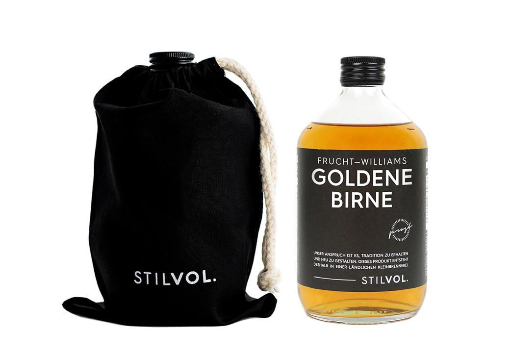 STILVOL. Frucht-Williams Goldene Birne - Birnenschnaps 500ml - Williams Christ mit eingelegter Birne